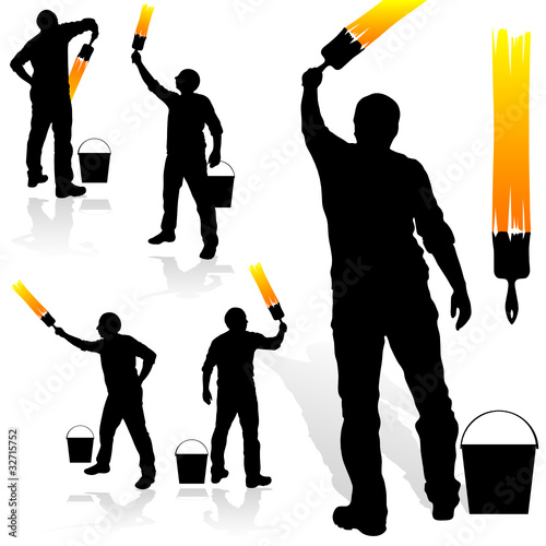 quot painting in yellow man black silhouette quot  stock image and painting clip art black and white painter clip art free