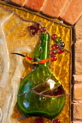 Stained glass composition of wine theme