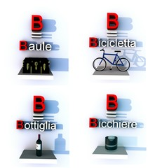 B come baule bicicletta bottiglia bicchiere collage