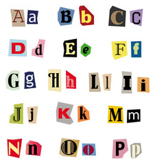 A - P - Vektor Buchstaben-Set aus Zeitungsausschnitten