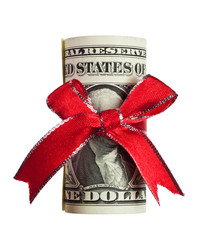 One US dollar wrapped by ribbon isolated on white