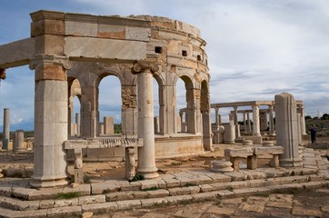 The marketplace at the spectacular ruins of Leptis Magna