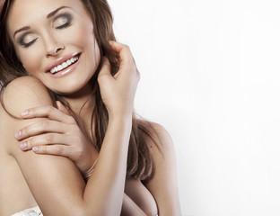 Fototapeta beautiful young woman on a white background obraz