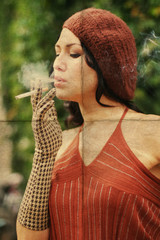 beauty young retro woman