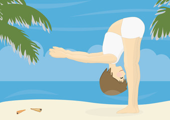 Beatiful woman practicing yoga on a beach