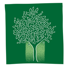 green tree icon, freehand drawing