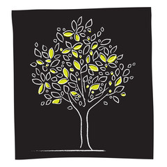 Eco - tree icon (white on black, freehand drawing)