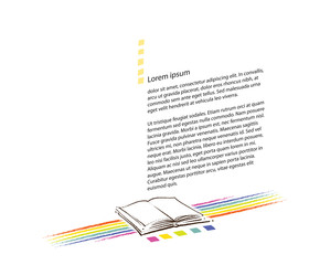 blank page layout - book icon and rainbow motive included
