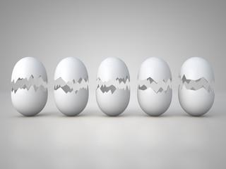Five broken eggs