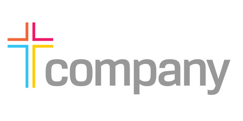Colour cross logo for church