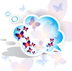Paper speech bubble. Butterfly design