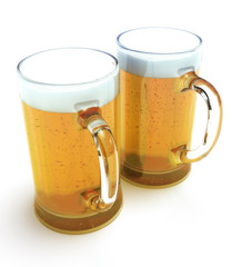 Two beer mugs isolated on a white background