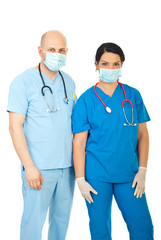 Team of two hospital  doctors