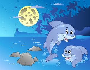 Photo sur Aluminium Dauphins Night seascape with happy dolphins