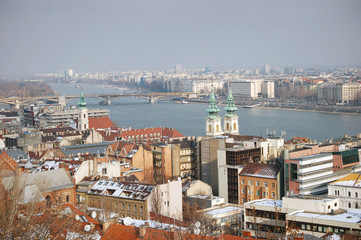 City of Budapest panorama from Royal Castle Hill.