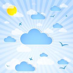 Keuken foto achterwand Hemel Good weather background. Blue sky with clouds