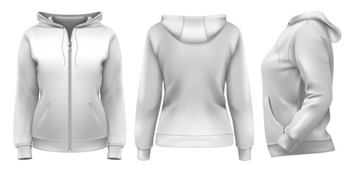 Vector. Women's hoodie (front, side and back design)