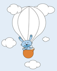 Printed roller blinds Heaven Animal volando en globo