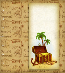 Background with drawing of pirate's treasure