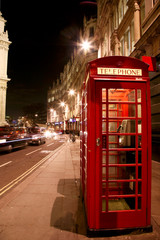 Fotobehang Londen rode bus Red Telephone Booth