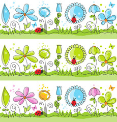 Wall Mural - Summer floral decorative lines