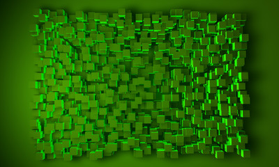 Geometric block background in green