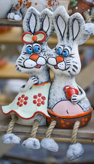 Two rabbits from the clay sculpture folk art