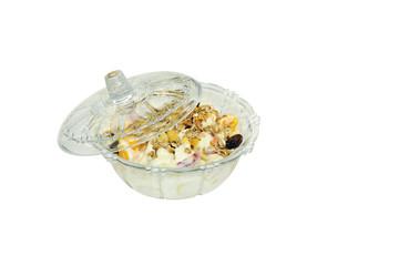Delicious fresh fruits with yogurt and muesli