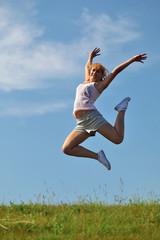girl jump outdoors