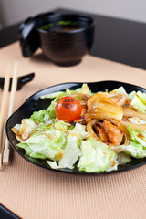 Salad with seafood in japanese style