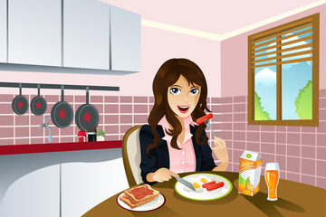 Woman eating breakfast
