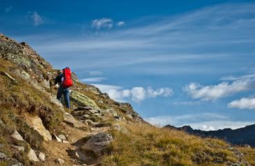 woman hiking in swiss alps