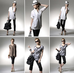 fashionable woman with a bag in light background ,collage