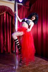 Stripper girl pole dancing in costume