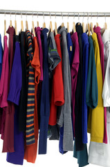 Close up colorful shirt rack