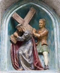 Mariazell - Jesus under cross - ceramic crossway