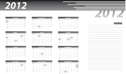 Calendário 2012 preto pt