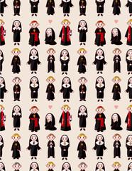 cartoon priest and nun seamless pattern