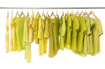 Fashion yellow shirts hanger rack