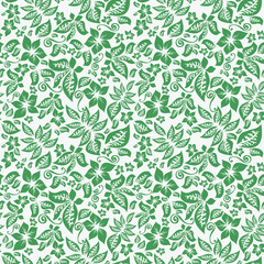 Seamless floral green background.
