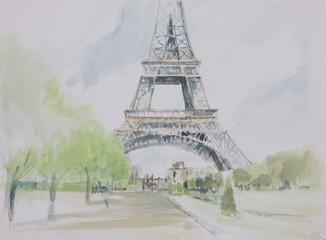 Poster Illustration Paris champ de mars