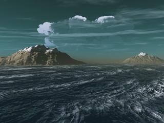 montañas en alta mar