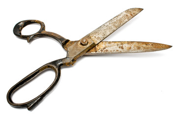 Old rusty sewing scissors