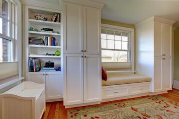 Custom build white shelves and bench