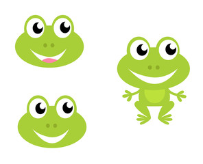 Cute green cartoon frog - icons isolated on white. VECTOR
