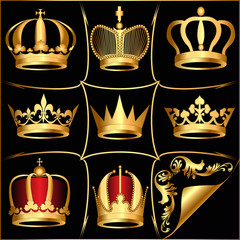 set gold(en) crowns on black background