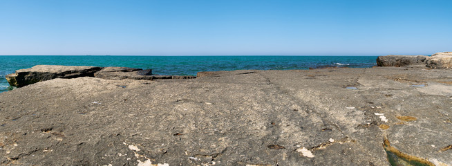 Panorama of rocks and the Caspian Sea. Month of May day.