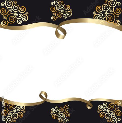 Fond Carte Noir Et Blanc Avec Ruban Arabesques Or