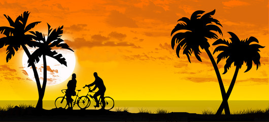 in bicicletta al tramonto