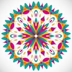 Illustrated modish arabesque with colorful shapes.